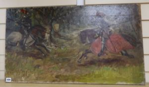 English School c.1900, oil on canvas, Sketch of jousting knights, 46 x 80cm, unframed