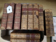 Ten leather-bound volumes
