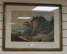Anne Hill, watercolour, View of Kilwaughton Castle, Co. Antrim, 36 x 51cm
