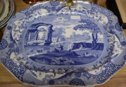 A Victorian Spode blue and white meat platter