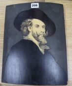 A 19th century Dutch or Flemish pewter ivorine and marquetry portrait of a 17th century gentleman