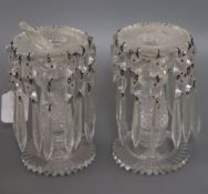 A pair of Victorian glass lustres height 16cm