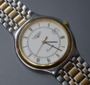 A Longines gentlemen's quartz wristwatch on flexible bi-metal bracelet