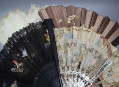 A Victorian painted lace and mother of pearl fan, another painted fan with bone sticks and three