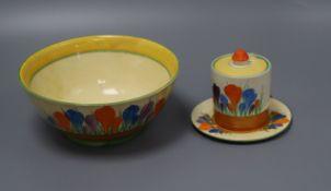 A Clarice Cliff Crocus and mixed ceramics
