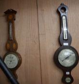 Two mahogany wheel barometers