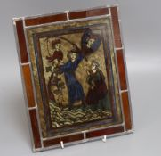 A German rectangular stained glass panel height 27cm