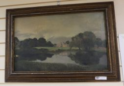 English School, oil on canvas, Country house viewed across a lake, 40 x 65cm