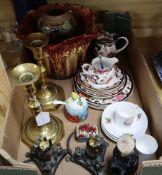 A quantity of Masons, Doulton vases and mixed ceramics etc.