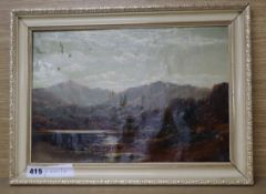Charles Lesley?, oil on canvas laid on board, Loch scene, 23 x 34cm