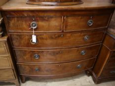 A Regency mahogany bow front chest W.104cm