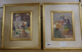 T. Galan Ulla, pair of oils on board, Malaysian vegetable sellers, signed, 21 x 15cm