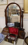 A Victorian walnut toilet mirror and a brass bound rosewood fitted toilet case width 28cm