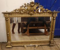 A 19th century giltwood and gesso overmantel mirror W.116cm