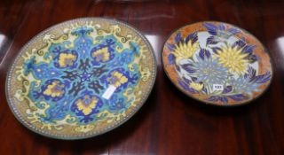 Two Gouda pottery chargers, the largest in Rhodian pattern