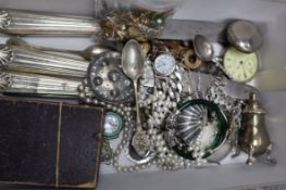 A mixed group of costume jewellery and other items including white metal pocket watch etc.
