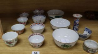A collection of 19th century and later porcelain tea bowls, etc.