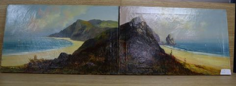 Charles Stanfield, pair of oils on canvas, Cornish beach scenes, signed, 30 x 51cm, unframed
