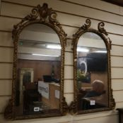 A pair of Victorian giltwood and gesso wall mirrors H.74cm