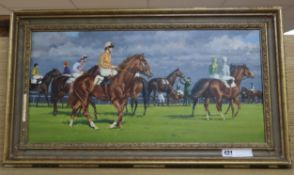 Norman Hoad, oil on canvas, Racehorses before the start, signed verso, 29 x 60cm