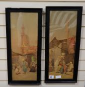 G. Pilny, pair colour prints, Cairo street scenes, 60 x 23cm