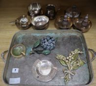 A quantity of plated ware to include Christofle and a Cartier ashtray