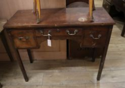 A 19th century mahogany kneehole side table W.96cm