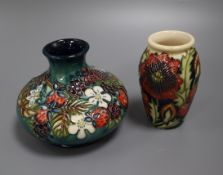 A Moorcroft strawberry vase and a poppy vase tallest 11cm