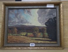David Mead, oil on canvas board, View of the Downs, signed and dated 1948, 24 x 34cm