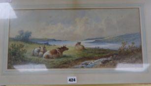 Morton Will, watercolour, Cattle in a landscape, signed, 21 x 46cm