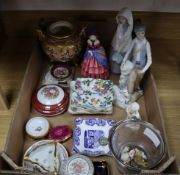A Royal Doulton figure H728, other ceramics and glass