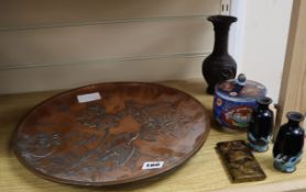 Japanese works of art to include a dish, three vases and a tortoiseshell and lacquer card case and