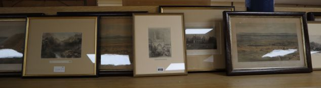 Eight assorted 19th century prints including a set of four Views of The Dyke at Brighton, 24 x 38cm