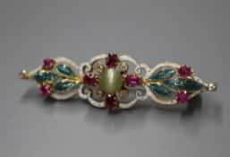 An early 20th century yellow metal, cat's eye chrysoberyl, ruby, diamond and enamel bar brooch,