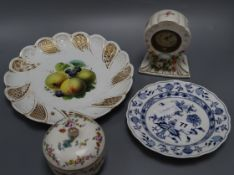A Meissen Marcolini box and cover, a Meissen dish, plate and a Continental timepiece