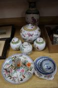 A group of Chinese famille rose jars and covers, a vase and a dish and other items