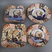 An early 19th century Newhall Imari pattern four piece part dessert set