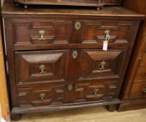 A Jacobean oak chest of drawers W.100cm