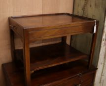 A Georgian style mahogany tray top occasional table, with frieze drawer L.70cm