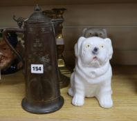 A pair of brass candlesticks, an Arts and Crafts coffee pot and a pair of ceramic dogs