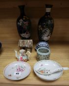 A pair of Japanese cloisonne vases and various Chinese porcelain items vases height 30cm