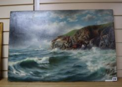 Ligdon Partridge, oil on canvas, Bolt Tail, Devon, signed, 50 x 76cm, unframed