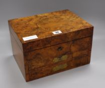 A Victorian figured walnut apothecary box, Kiddell Shrewsbury width 28cm