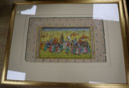 Indian School, three gouaches, Courtiers and a procession, largest 18 x 30cm