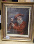 Allan Douglas Davidson (1873-1932) oil on canvas board, 17th century gentleman holding a staff,