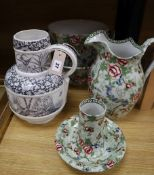An Albion pottery `Chinese Rose' pattern part toilet set (5 pieces) and an aesthetic taste