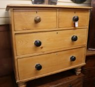 A Victorian pine chest of drawers W.86cm