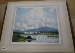 Paul Henry, two colour prints, Irish landscapes, signed in pencil, one unframed, 34 x 40cm