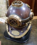 A reproduction copper and brass model diver's helmet, US Navy, Mark V