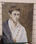 Paul McDowell (1931-2016) oil on canvas, Self portrait, signed and dated 1957, 72 x 55cm,